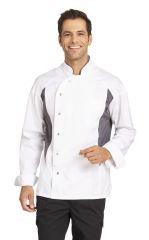Kochjacke mit Druckknöpfen und Stretcheinsätzen
